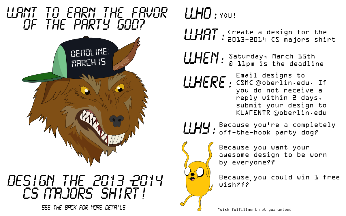 Oberlin college computer science 2014 cs t shirt contest for T shirt design contest flyer